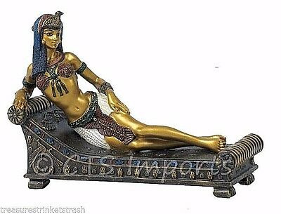 Egyptian Queen Cleopatra On Bed Statue Figurine  Free S&H