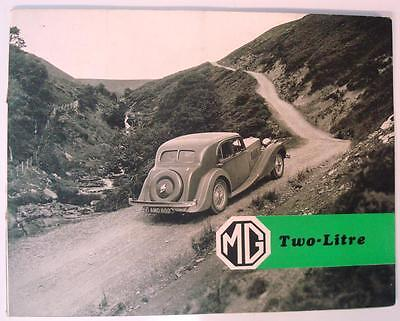 MG TWO LITRE Car Sales Brochure Oct 1938 SALOON Tickford Foursome & TOURER