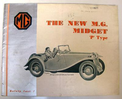 MG MIDGET P TYPE Car Sales Brochure March 1934