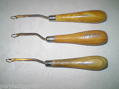 Lot of 3 Wooden Handled Latch Hooking Tools ~ Rug Making ~ Mary Maxim & 2 Korea