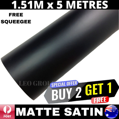 1.52M X 5M Matte Satin Black Premium Quality Car Vinyl Wrap Film Air Bubble Free