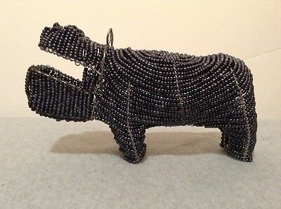 Collectible & Unusual Hematite Gemstone Beaded Hippopotamus - NICE!!  (#GT9B-5)