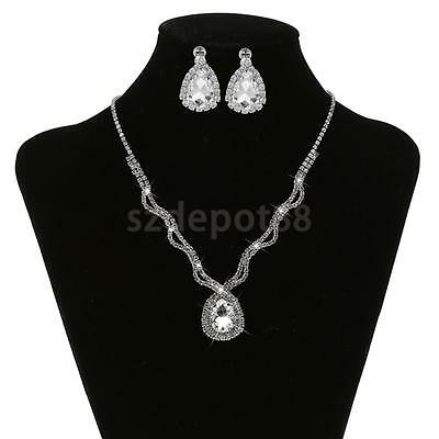 Gorgeous Crystal Diamante Wedding Bridal Necklace Earring Lady Jewelry Set