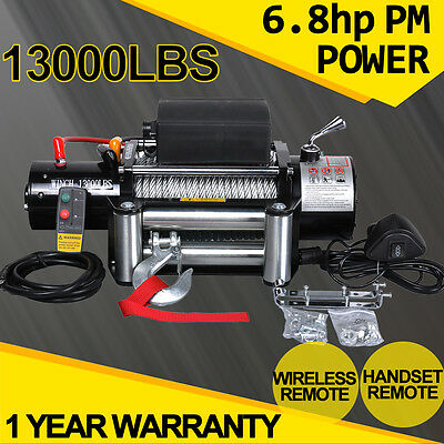 ELECTRIC WINCH 13000LBS 12V Recovery With WIRELESS REMOTE Kit 4wd ATV Boat Truck
