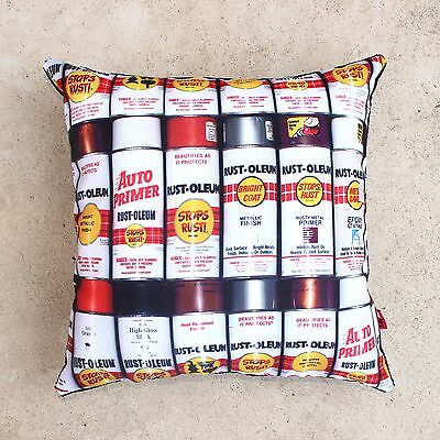 NEW 46 x 46 cm RAW INC RUSTOLEUM AEROSOL SPRAY PAINT CAN GRAFFITI CUSHION