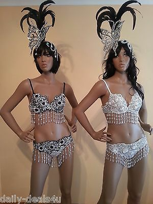 Brazilian SAMBA Sequin Bikini- 2 piece SET Carnival Costume Size 8-10 Drag Queen