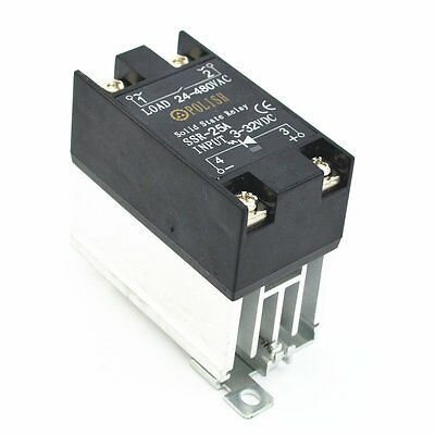 Solid State Relay SSR-25 DA 25A 3V-32VDC  Heat Sink