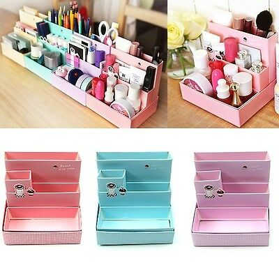 DIY Paper Board Storage Boxes Desk Decor Stationery Makeup Cosmetic