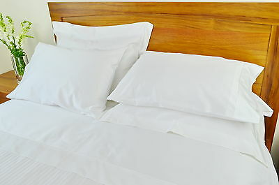 Queen Bed Sheet Set 500TC/10cm2 Pure Cotton Fitted Flat Pcs White/Cream