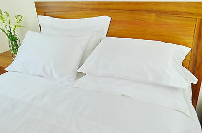 Queen Bed Fitted Sheet+2 Pillow Cases 1000TC/10cm2 Pure Cotton Plain White