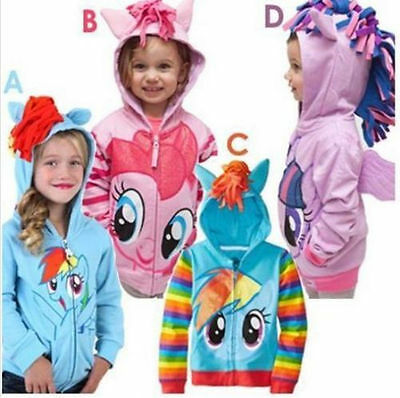 New Girls My Little Pony Hoodie Wings Kids Jacket Sweater Twilight Rainbow Dash.
