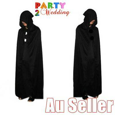Black Halloween Wizard Vampire Witch Devil Death Cloak Hoody Cape 170cm Costume