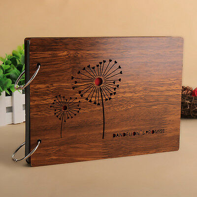 "DIY 30Pages 8"" 22 x 16cm Wood Cover 2 Rings Photo Album Scrapbook DANDELION"