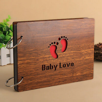 "DIY 30Pages 8"" 22 x 16cm Wood Cover 2 Rings Photo Album Scrapbook BABY LOVE"