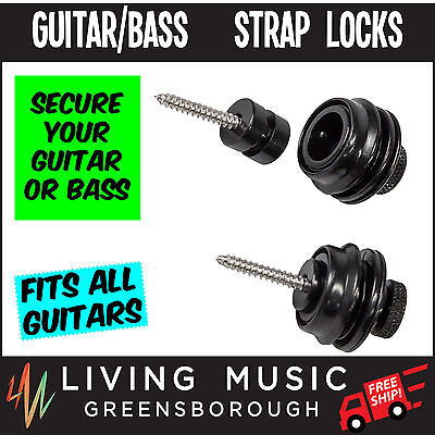 New Crossfire D-Style Guitar Strap Locks (Black)