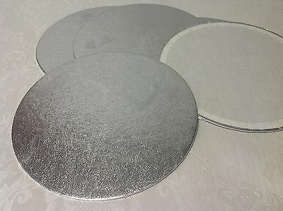 "8"" inch ROUND silver SINGLE THICK cake card / board"