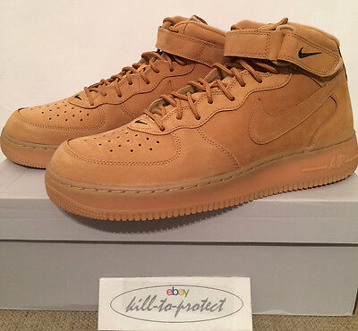 Details about NIKE AIR FORCE 1 ONE MID WHEAT FLAX QS SIZE UK 6.5 7.5 8 10.5 12 LIMITED EDITION
