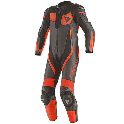 Dainese Veloster Summer Motorcycle 1 Piece Leather Race Suit - Black / Red / Red
