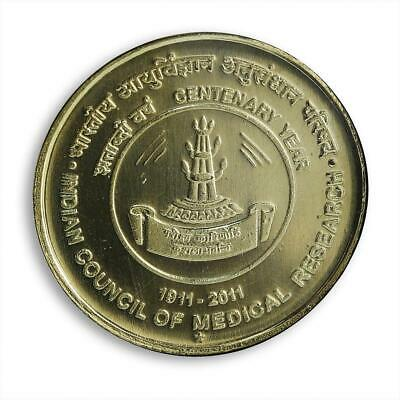 India 5 rupees100 years Indian Council of Medical Research coin 1911 -- 2011