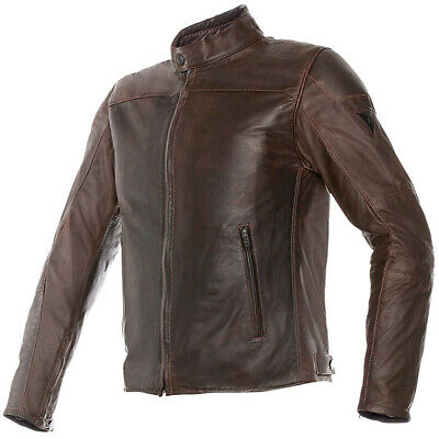 Dainese Mike Retro Leather Motorcycle Jacket - Dark Brown