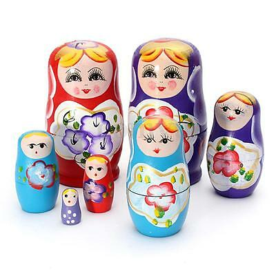 Pack 5 Russian Dolls Matryoshka Nesting Toys Wooden Dolls Set Hand Painted Gift