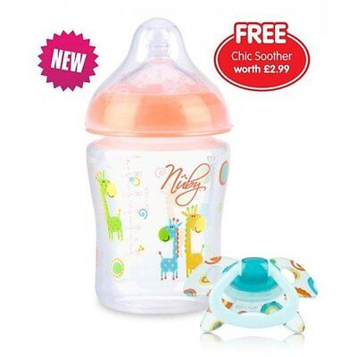 Nuby 92444 Natural Touch Decorated Feeding Bottle Pink 270ml / 9oz