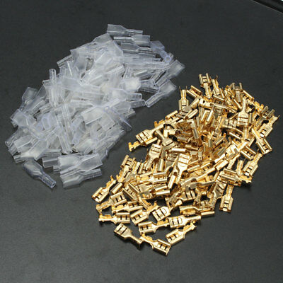 100pcs 6.3mm Clear Insulated Female Electrical Spade Crimp Connectors Terminals