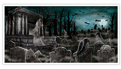 5 feet Halloween Cemetery Banner Party Decoration Graveyard Scene Tomb Poster