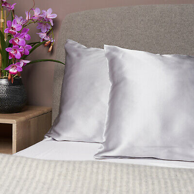 100% Pure and Organic Mulberry Silk Pillow Case - 19 Momme Grey Silver