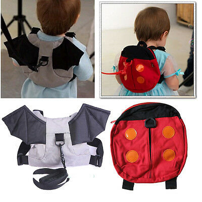Safety Walking backpack Harness Reins Toddler Bag For Kids Children Ladybug Bat