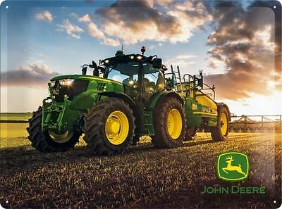 John Deere Tractor - Metal Sign Embossed - Large - Protected Product