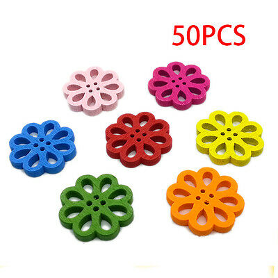 50Pcs New Colorful Hollow Flower Wooden Buttons Four Holes for Decoration