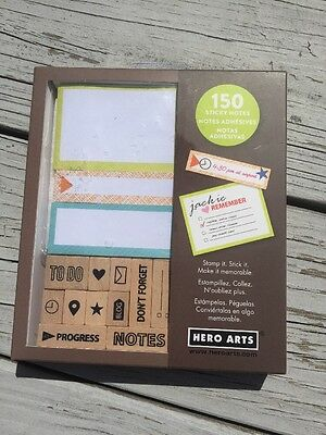 Hero Arts Post It Sticky Notes & Rubber Stamps Planner Accessories Kit CK275