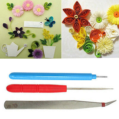 NEW 3Pcs/Set Flower DIY Paper Quilling Tool Tweezer+Slotted +Needle Hand Carft