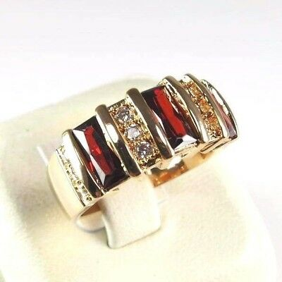 R#9485 simulated Red Garnet Gemstone ladies yellow gold plate ring size 8.25