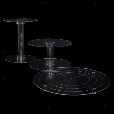 3 Tier Cascade Cake Stand Clear Acrylic Round Cupcake Wedding Party Display