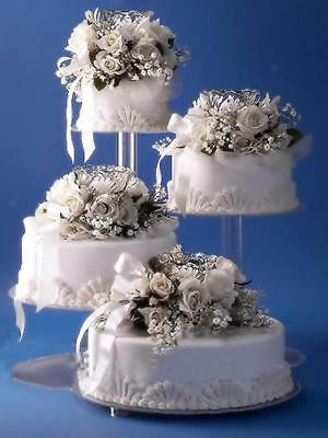 4 Tiers Clear Acrylic Cascade Wedding Cakes Stand Display Romantic Style