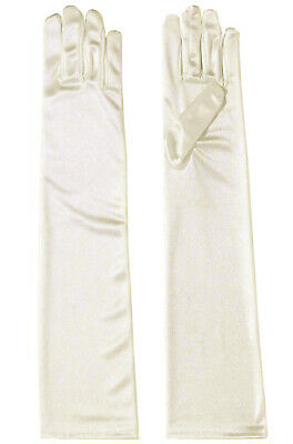 Long Satin Gloves Costume Accessory (Beige)