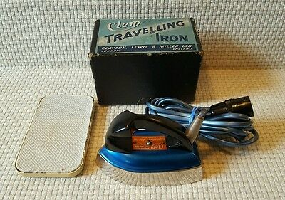 Clem Travelling Iron  British Made - Boxed - 1940's/50's