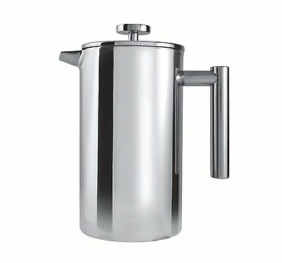 Grunwerg 8 Cup Straight Double Wall Satin Stainless Steel Cafetiere Coffee Maker