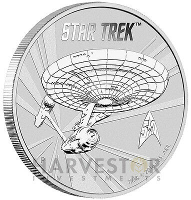 2016 Star Trek 1 Oz. Silver Bullion Coin - Perth Mint - In Capsule - Only 50,000