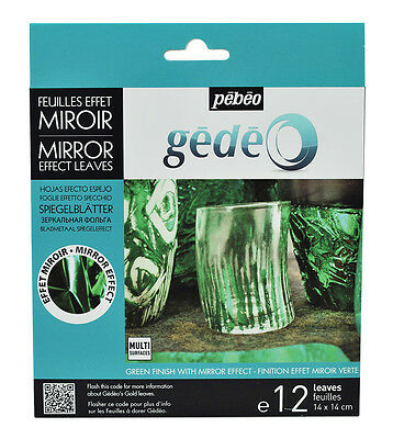 Pebeo Gedeo Metal Leaf Leaves Coloured Mirror Effect Finish Green 12 Sheets