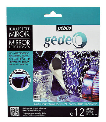 Pebeo Gedeo Metal Leaf Leaves Coloured Mirror Effect Finish Blue12 Sheets Blue