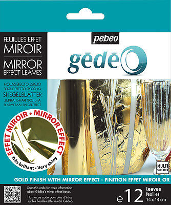 Pebeo Gedeo Metal Leaf Leaves Coloured Mirror Effect Finish Gold 12 Sheets Gold