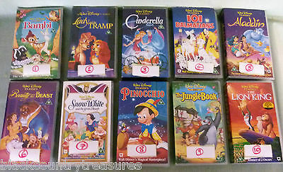 Disney VHS VIDEO Tape Classic movies Cinderella Beauty & The  Beast Snow White