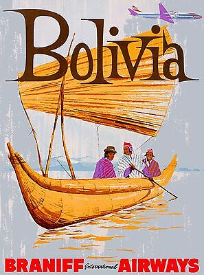 Bolivia South America Vintage Travel Art Poster Advertisement