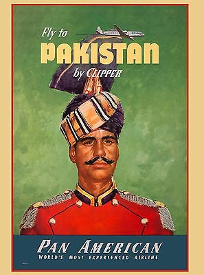Fly to Pakistan by Clipper Vintage Travel Advertisement Art  Poster