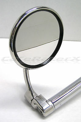 "Halcyon 830 Stainless Bar End Mirror 4"" Round Folding Adjustable Cafe Racer"