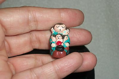 Miniature Tiny Native American Handmade Storyteller 5 Children by Whitefeather