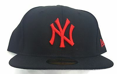 New York Yankees Black/red  5950 Fitted Cap Hat Grey Brim Undervisor